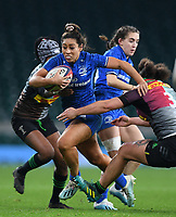 28th December 2019; Twickenham, London, England; Big Game 12 Womens Rugby, Harlequins versus Leinster; Sene Naoupu of Leinster makes a break but is brought down by Shaunagh Brown of Harlequins - Editorial Use