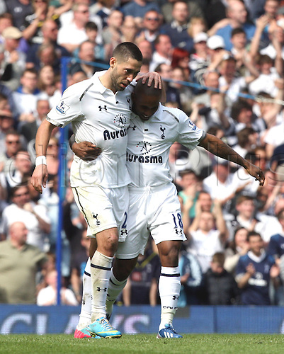 21.04.2013 London, England. Clint Dempsey celebrates his goal with Jermain Defoe of Tottenham Hotspur during the Premier League game between Tottenham Hotspur and Manchester City from White Hart Lane.