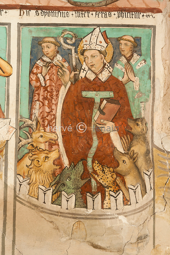 France, Alpes-Maritimes (06), Auron, chapelle Saint-Erige, les fresques du choeur, voute gauche, la vie des Saints Denis, fresques sur la vie et mort de Saint-Denis  dit l'aéropagique, Saint Denis et les deux diacres livrés aux animaux sauvages par les romains // France, Alpes Maritimes, Auron, chapel St Erige, the frescoes of the choir, vault left, the Saints Denis, frescoes on the life and death of Saint-Denis said the Areopagus, St. Denis and the two deacons delivered to wildlife by the Romans