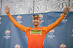August 10, 2017 - Colorado Springs, Colorado, U.S. -  Cannondale Drapac's, Taylor Phinney, wears the most aggressive rider's jersey following the opening stage of the inaugural Colorado Classic cycling race, Colorado Springs, Colorado.