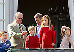 16-04-2014 Balcony 74th birthday of the Danish Queen at Marselisborg Castle in Aarhus.<br /> Prince Henik.<br /> Prince Frederik and Prince Christian and Princess Isabella and Prince Vincent and Princess Josephine.<br /><br /> <br /> <br /> Credit: PPE/face to face<br /> - No Rights for Netherlands -