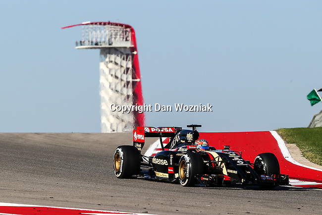 ROMAIN GROSJEAN (8) driver of the Lotus F1 Team car in action  during the last practice before the Formula 1 United States Grand Prix race at the Circuit of the Americas race track in Austin,Texas.