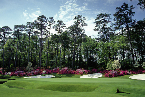April 1991: General view of the 13th hole at Augusta National Golf Course during the US Masters. The Augusta National Golf Club, located in Augusta, Georgia was founded by Bobby Jones and Clifford Roberts on the site of a former indigo plantation, the course was designed by Jones and Alister MacKenzie. AP10145907