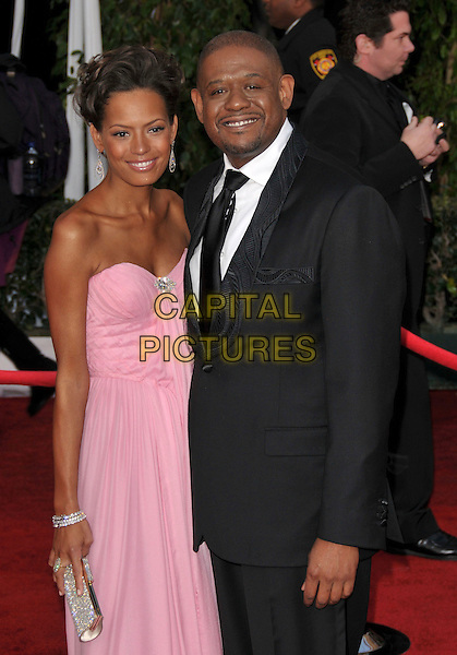 KEISHA WHITAKER & FOREST WHITAKER.At The 14th annual Screen Actors Guild Awards (SAG Awards)  held at Shrine Auditorium, Los Angeles, California USA, January 27, 2008..half length pink dress wife husband.CAP/DVS.©Debbie VanStory/Capital Pictures