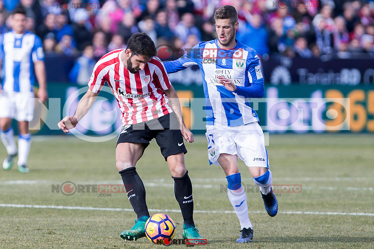Atletic de Bilbao's Raul Garcia, Club Deportivo Leganes's Ruben Perez during the match of La Liga between Leganes and Athletic Club at Butarque Stadium  in Madrid , Spain. January  14, 2017. (ALTERPHOTOS/Rodrigo Jimenez) /NORTEPHOTO.COM