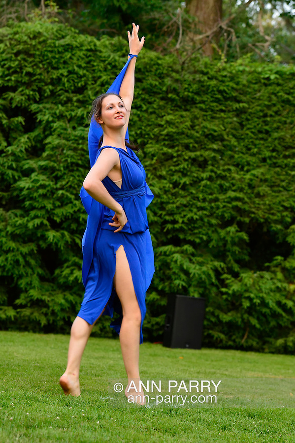 Old Westbury, New York, U.S. 22nd June 2013. Dances by Lori Belilove & The Isadora Duncan Dance Company, with appearances by The Beliloveables, are performed by dancers at the Midsummer Night event at Old Westbury Gardens, throughout the illuminated grounds of the historic Long Island Gold Coast estate.