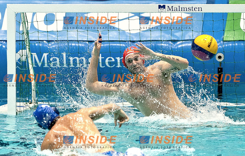 Eindhoven , Netherlands (NED) 23/1/2012.LEN European  Water Polo Championships 2012.Day 08 - Men.ITA (White) - GRE (Blue).1 PASTORINOGiacomo.Photo Insidefoto / Giorgio Scala