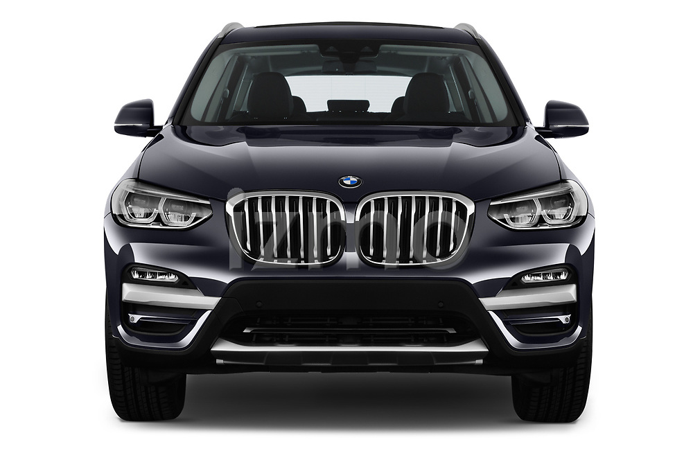 Car photography straight front view of a 2018 BMW X3 xLine 5 Door SUV