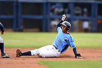 Charlotte Stone Crabs shortstop Leonardo Reginatto (16) slides into second on a double during a game against the Fort Myers Miracle on April 16, 2014 at Charlotte Sports Park in Port Charlotte, Florida.  Fort Myers defeated Charlotte 6-5.  (Mike Janes/Four Seam Images)