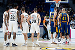 Real Madrid Gabriel Deck, Trey Thompkins, Gabriel Deck and Jaycee Carroll and Herbalife Gran Canaria Anzejs Pasecniks and Kim Tillie during Turkish Airlines Euroleague match between Real Madrid and Herbalife Gran Canaria at WiZink Center in Madrid, 20 November 2018. (ALTERPHOTOS/Borja B.Hojas)