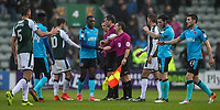 Players from both teams shake hands at the end of the match won by Fleetwood Town 2-0<br /> <br /> Photographer Andrew Kearns/CameraSport<br /> <br /> The EFL Sky Bet League One - Plymouth Argyle v Fleetwood Town - Saturday 7th October 2017 - Home Park - Plymouth<br /> <br /> World Copyright &copy; 2017 CameraSport. All rights reserved. 43 Linden Ave. Countesthorpe. Leicester. England. LE8 5PG - Tel: +44 (0) 116 277 4147 - admin@camerasport.com - www.camerasport.com