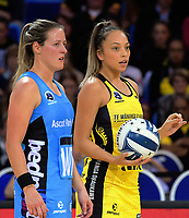 Wendy Frew (left) and Mila Reuelu-Buchanan during the ANZ Premiership netball match between the Central Pulse and Northern Stars at Te Rauparaha Arena in Wellington, New Zealand on Wednesday, 24 May 2017. Photo: Dave Lintott / lintottphoto.co.nz