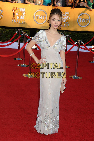 Sarah Hyland.18th Annual Screen Actors Guild Awards held at The Shrine Auditorium, Los Angeles, California, USA..January 29th, 2012.SAG SAGS full length white grey gray dress beads beaded hand on hip.CAP/ADM/BP.©Byron Purvis/AdMedia/Capital Pictures.