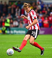 Lincoln City's Sean Raggett<br /> <br /> Photographer Andrew Vaughan/CameraSport<br /> <br /> The EFL Sky Bet League Two - Lincoln City v Morecambe - Saturday August 12th 2017 - Sincil Bank - Lincoln<br /> <br /> World Copyright &copy; 2017 CameraSport. All rights reserved. 43 Linden Ave. Countesthorpe. Leicester. England. LE8 5PG - Tel: +44 (0) 116 277 4147 - admin@camerasport.com - www.camerasport.com