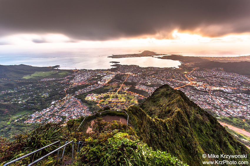 "An aerial view of Kaneohe at dawn from Haiku Stairs (""Stairway to Heaven"") hiking trail in Kaneohe, Oahu"