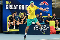 9th January 2020; Sydney Olympic Park Tennis Centre, Sydney, New South Wales, Australia; ATP Cup Australia, Sydney, Day 7; Great Britain versus Australia; Alex de Minaur of Australia versus Daniel Evans of Great Britain; Alex de Minaur of Australia hits a forehand to Daniel Evans of Great Britain  - Editorial Use