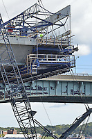 Pearl Harbor Memorial Bridge, New Haven Harbor Crossing Corridor, Interstate 95 in CT. Construction of Connecticut Department of Transportation Contract B as seen on September 9, 2011. New Northbound Span, Progress of the Replacement Bridge. When complete this will be the first Extradosed Bridge in the United States. This view includes Traveling Formwork. Old Q Bridge in background.