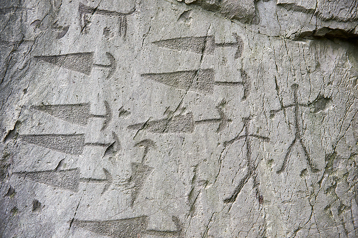 Prehistoric  petroglyphs, rock carvings, detail of of trangular daggers with semi circular pomels and schematic depictions of human figures in an ancient sanctuary, carved by the the ancient Camuni people in the Copper Age around the 3rd milleneum BC  , Massi dei Cemmo Archaeological Site, Capo di Ponti, Lombardy Italy