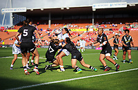 Action from the Women's Rugby League World Cup warmup match between the Kiwi Ferns and Wahine Toa at the FMG Stadium in Hamilton, New Zealand on Saturday, 4 November 2017. Photo: Dave Lintott / lintottphoto.co.nz