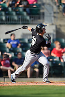 San Antonio Missions first baseman Jason Hagerty (16) at bat during a game against the Arkansas Travelers on May 25, 2014 at Dickey-Stephens Park in Little Rock, Arkansas.  Arkansas defeated San Antonio 3-1.  (Mike Janes/Four Seam Images)
