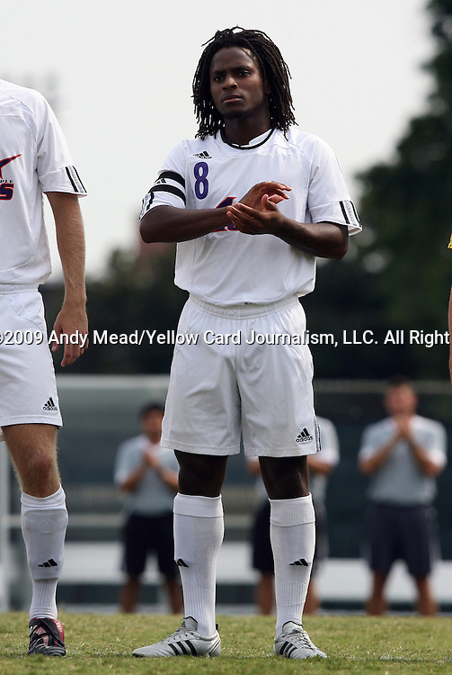 06 September 2009: Evansville's Reggie Edu. The University of North Carolina Tar Heels defeated the Evansville University Purple Aces 4-0 at Fetzer Field in Chapel Hill, North Carolina in an NCAA Division I Men's college soccer game.