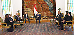 Egyptian President Abdel Fattah al-Sisi (R) receiving EU Commissioner for Migration, Citizenship and Internal Affairs Demetris Aframopoulos at the presidential palace in the capital Cairo on December 16, 2017. Photo by Egyptian President Office