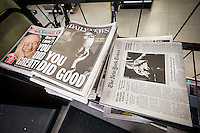 Headlines of New York newspapers on Saturday, February 2, 2013 report on the previous day's death of former New York Mayor Edward I. Koch who passed away at the age of 88. (© Richard B. Levine)