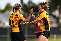 Sarina Fiso Clark and Amber Kani of Manurewa celebrate a try. Premier Women's Rugby League, Papakura Sisters v Manurewa Wahine, Prince Edward Park, Auckland, Sunday 13th August 2017. Photo: Simon Watts / www.phototek.nz