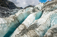 Crevasses on Fox Glacier, Westland National Park, West Coast, World Heritage Area, South Westland, New Zealand