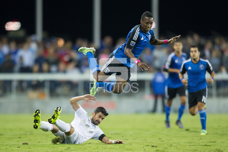 San Jose, CA - October 16, 2015:  San Jose Earthquakes vs Sporting Kansas City on Friday Night at Avaya Stadium. San Jose defeated Kansas City 1-0.