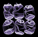 X-ray image of can six-pack (purple on black) by Jim Wehtje, specialist in x-ray art and design images.