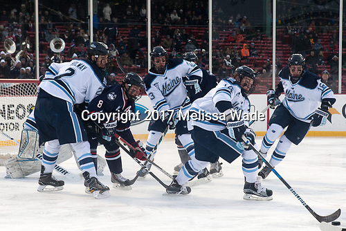 Patrick Holway (Maine - 2), Spencer Naas (UConn - 8), Sam Becker (Maine - 23), Cedric Lacroix (Maine - 14), Dane Gibson (Maine - 16) - The University of Maine Black Bears defeated the University of Connecticut Huskies 4-0 at Fenway Park on Saturday, January 14, 2017, in Boston, Massachusetts.