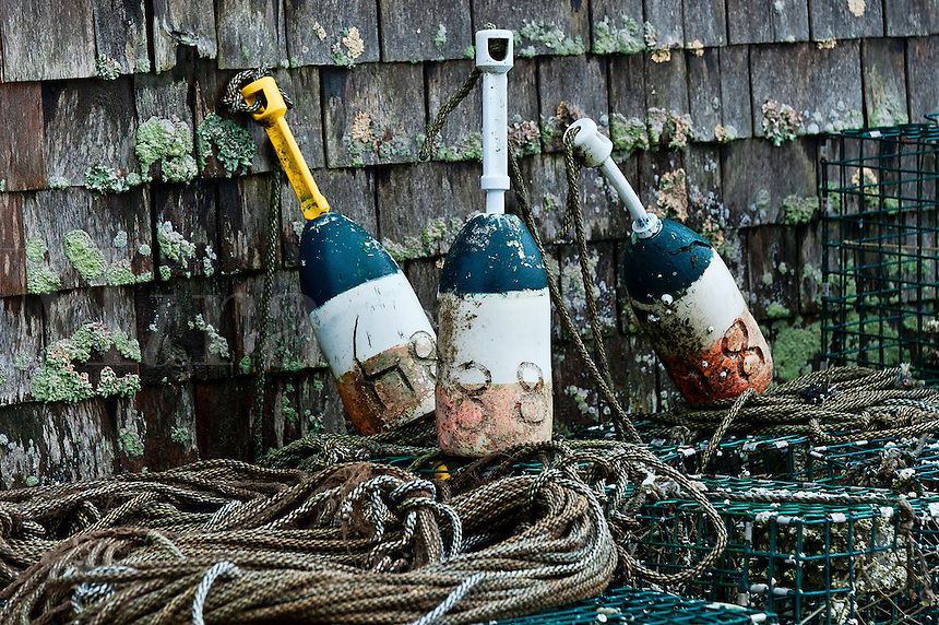 Lobster buoys and traps.