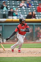 Alen Hanson (5) of the Sacramento River Cats bats against the Salt Lake Bees at Smith's Ballpark on April 19, 2018 in Salt Lake City, Utah. Salt Lake defeated Sacramento 10-7. (Stephen Smith/Four Seam Images)
