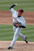 Rochester Red Wings relief pitcher Jeff Manship #47 during the opening game of the International League season against the Syracuse Chiefs at Alliance Bank Stadium on April 5, 2012 in Syracuse, New York.  Rochester defeated Syracuse 7-4.  (Mike Janes/Four Seam Images)