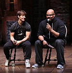 "Thayne Jasperson and James Monroe Iglehart  during The Rockefeller Foundation and The Gilder Lehrman Institute of American History sponsored High School student #eduHam matinee performance of ""Hamilton"" Q & A at the Richard Rodgers Theatre on November 28, 2018 in New York City."