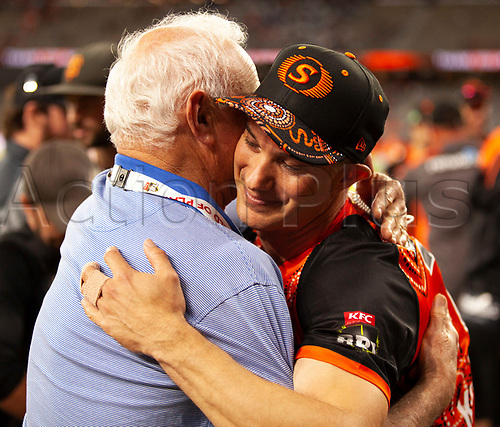 3rd February 2019, Optus Stadium, Perth, Australia; Australian Big Bash Cricket League, Perth Scorchers versus Melbourne Stars; Michael Klinger hugs his father after playing his last match for the Perth Scorchers