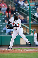 Rochester Red Wings third baseman Jermaine Curtis (11) at bat during a game against the Pawtucket Red Sox on May 19, 2018 at Frontier Field in Rochester, New York.  Rochester defeated Pawtucket 2-1.  (Mike Janes/Four Seam Images)