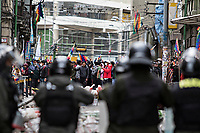 La Paz, Bolivia<br /> Wednesday November 13, 2019<br /> People protest against the new government and in favor of former president Morales in downtown in the Capital city of La Paz.  After the October 20 presidential elections and resignation of President Evo Morales, there is a lot of protests in many regions of Bolivia.