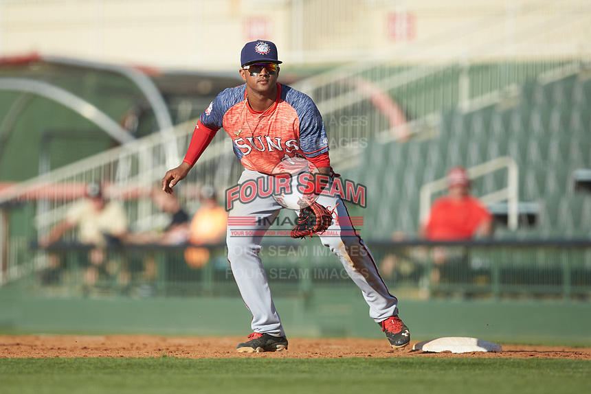 Hagerstown Suns first baseman Anderson Franco (13) on defense against the Kannapolis Intimidators at Kannapolis Intimidators Stadium on May 6, 2018 in Kannapolis, North Carolina. The Intimidators defeated the Suns 4-3. (Brian Westerholt/Four Seam Images)