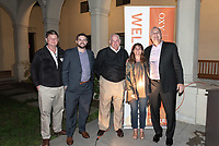 From left, Brad Hall, Mike Wells, Jim Hennacy, Amy Marcus-Newhall '84 and Coach Brian Newhall '83<br /> Now in his 30th year as Oxy's head men's basketball coach, Brian Newhall received a much deserved celebration with a surprise halftime ceremony and post game reception in the Booth Hall courtyard with more than 70 former and current players from all different generations and decades in attendance, on Saturday, Jan. 26, 2019.<br /> Newhall is the winningest coach in Oxy history and has a 100 percent graduation rate in his 30 years at the helm of the program. His resume boasts multiple SCIAC Championships and NCAA Playoff appearances, along with a run to the NCAA Division III Elite Eight in 2003 and the only perfect 14-0 season in SCIAC history. Newhall has not only coached at Oxy, but was a SCIAC Champion and SCIAC Player of the Year during his playing career at Oxy in the early 80s.<br /> (Photo by Marc Campos, Occidental College Photographer)