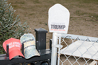 A street vendor displays Trump hats and memorabilia  outside the White House in Washington, D.C., on Jan. 19, 2017, the day before the inauguration of president-elect Donald Trump.