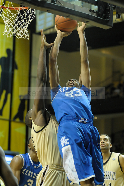 UK's forward Anthony Davis goes strong to the basket during the first half of the University of Kentucky men's basketball game against Vanderbilt at Memorial Gym in Nashville, Tennessee., on Feb. 11, 2012. UK won 69-63. Photo by Mike Weaver | Staff