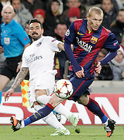 FC Barcelona's Jeremy Mathieu (r) and Paris Saint-Germain's Ezequiel Lavezzi during Champions League 2014/2015 match.December 10,2014. (ALTERPHOTOS/Acero) /NortePhoto
