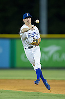 Burlington Royals second baseman Brian Bien (3) makes a throw to first base against the Johnson City Cardinals at Burlington Athletic Park on August 22, 2015 in Burlington, North Carolina.  The Cardinals defeated the Royals 9-3. (Brian Westerholt/Four Seam Images)