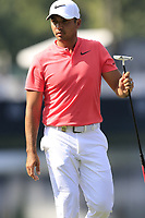 Jason Day (AUS) sinks his putt on the 14th green during Thursday's Round 1 of the 2017 PGA Championship held at Quail Hollow Golf Club, Charlotte, North Carolina, USA. 10th August 2017.<br /> Picture: Eoin Clarke | Golffile<br /> <br /> <br /> All photos usage must carry mandatory copyright credit (&copy; Golffile | Eoin Clarke)