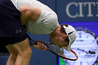Andy Murray reacts during play against Kei Nishikori in the Men's Quarter-Finals of the US Open 2016 at the Billie Jean King National Tennis Centre, Queens, New York on the 7th September 2016