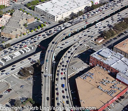 aerial photograph heavy freeway traffic San Francisco, California