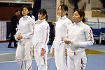 Japan team group (JPN),<br /> AUGUST 11, 2013 - Fencing :<br /> World Fencing Championships Budapest 2013, Women's Team Epee Round of 32 at Syma Hall in Budapest, Hungary. (Photo by Enrico Calderoni/AFLO SPORT) [0391](L to R) Saki Nakano, Rie Ohashi, Miho Morioka, Ayaka Shimookawa