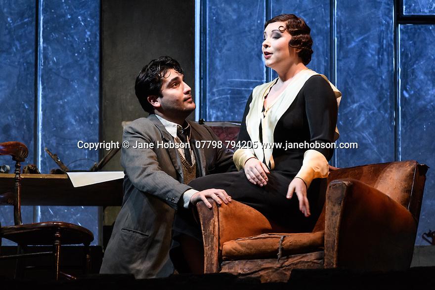 "English National Opera present their fourth revival of Jonathan Miller's production of Puccini's ""La Boheme"", in which Natalya Romaniw makes her ENO debut. Cast is: Natalya Romaniw (Mimi), Jonathan Tetelman (Rodolfo), Nicholas Lester (Marcello), Simon Butteriss (Benoit/Alcindoro), Nadine Benjamin (Musetta), David Soar (Colline), Bozidar Smiljanic (Schaunard). Picture shows: Jonathan Tetelman (Rodolfo), Natalya Romaniw (Mimi)"